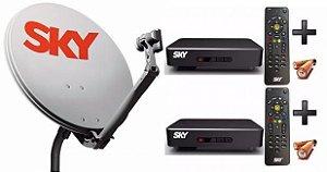 Kit Sky Pré Pago Flex Hd com 2 Receptores - Vivensis