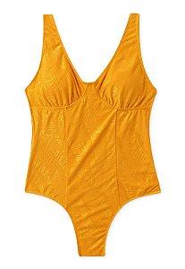 Maiô Tradicional Com Bojo Removível Amarelo Texturizado