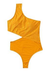 Maiô de Um Ombro Só Com Recorte e Bojo Amarelo Texturizado