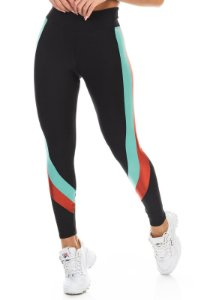 Legging com  Recorte Lateral Tricolor Preto