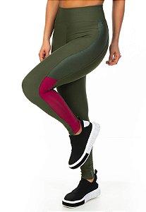 Legging Recorte Tricolor Vertical Cor Verde Militar