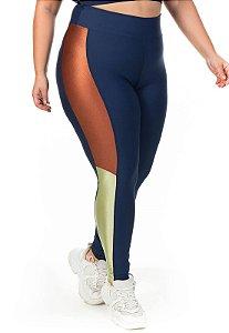 Legging Recorte Tricolor Vertical Cor Azul Marinho