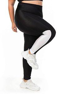 Legging Recorte Tricolor Vertical Cor Preta