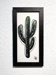 Quadro Feito a Mão (30x16cm) - Cacto Mandacaru