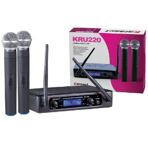 Microfone sem Fio Duplo UHF KARSECT KRU220 PROFISSIONAL