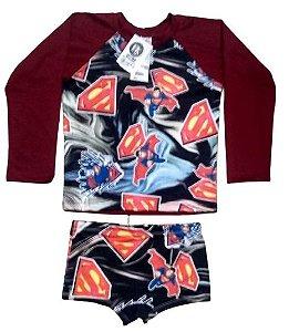 Blusa Uv + Sunga Infantil Proteção Solar Fator 50 Kit - Super Man