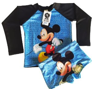 Blusa Uv + Sunga Infantil Proteção Solar Fator 50 Kit - Mickey 2