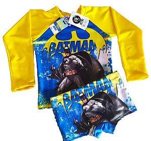 Blusa Uv + Sunga Infantil Proteção Solar Fator 50 Kit - Batman 2