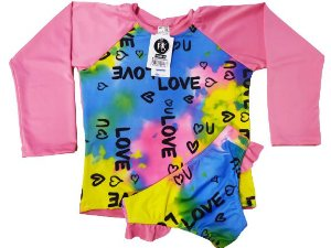 Kit Praia Menina Infantil Blusa Uv+ Calcinha Fator 50 - Love