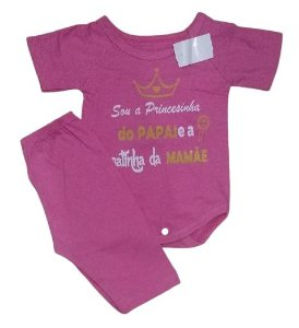 Conjunto Body com Calça Personagens - Sou a Princesa do Papai e a gatinha da mamãe