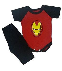Conjunto Body com Calça Personagens - Homem de Ferro