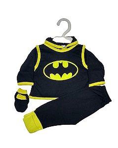 Conjunto Pagão Bebê recém nascido com 4 peças - Batman