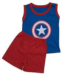 Conjunto Camisa Regata e Short Personagens - Capitão América