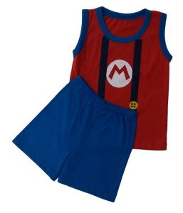 Conjunto Camisa Regata e Short Personagens - Mario