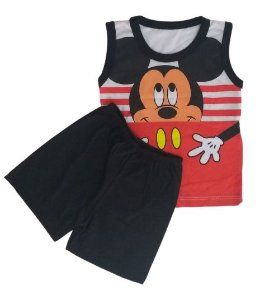 Conjunto Camisa Regata e Short Personagens - Mickey