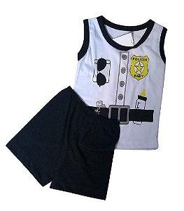 Conjunto Camisa Regata e Short Personagens - Capitão Policia