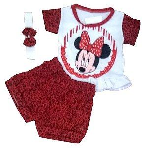 Conjunto Short e Camiseta Minnie Tiara