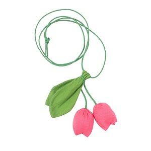 S2005-01 - Colar Tulipa Linho  Pink