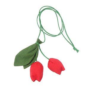 S2005-02 - Colar Tulipa Linho Vermelho