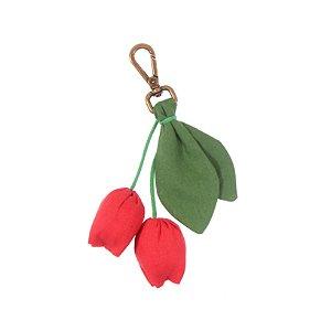 S2006-02 - Chaveiro Tulipa Linho Vermelho