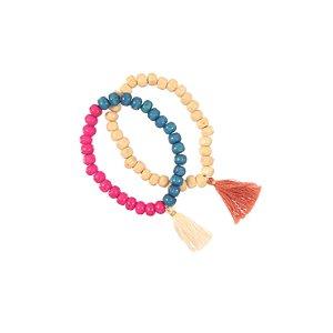 BJS05-01 - Pulseira wood - rosa/azul