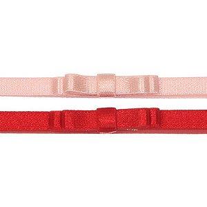 AFX018-03 - Faixa Laço Simple Doppio Acetinado Kit 2 - Rosa Vermelho