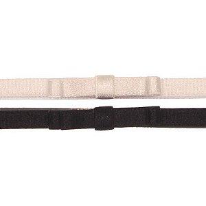 AFX018-04 - Faixa Laço Simple Doppio Acetinado Kit 2 - Branco Preto