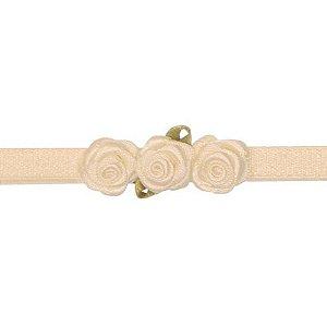 AFX020-02 - Faixa Três Mini Rosas Cetim - Marfim