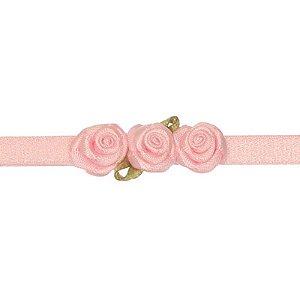 AFX020-03 - Faixa Três Mini Rosas Cetim - Rosa