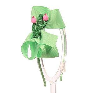 ADF408-16 - Tiara Laço G Desenhos Variados - Verde Menta Cactus