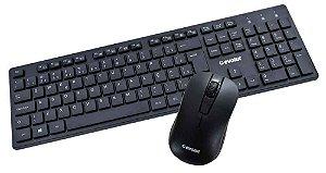 Combo Teclado + Mouse Office EO502 Preto Sem Fio Evolut