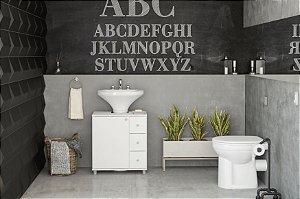 Gabinete de Banheiro 3 Gavetas 1 Porta Branco Politorno