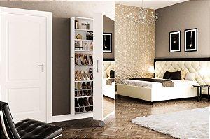 Sapateira Itu 1 porta com espelho 11 prateleiras 1 rodízio Branco Politorno