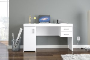 Mesa de escritório Miranda 1,35m 1 porta 2 gavetas Branco Politorno