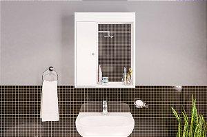 Armário aéreo para banheiro com espelho 1 porta 2 prateleiras Branco Politorno