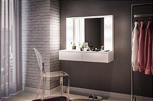 Penteadeira Suspensa 6 lâmpadas com espelho 2 gavetas Branco Politorno