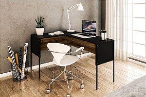 Mesa de escritório Maiorca em L pés de metal Preto/New Avelã Politorno