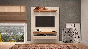 Painel Para TV 60 Polegadas  180cm C/Led - Off White/Frejo/Espelho Pradel