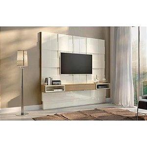 Painel Para Tv até 75 Polegadas Quadriculado  3D+LED- Off  White/Carvalho Pradel