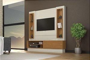 Painel para TV 60 Polegadas 1 Porta De Correr + LED - Off White/Freijo Pradel