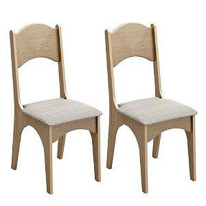 Conjunto 2 Cadeiras Estofadas - Carvalho/Geometrico Dalla Costa