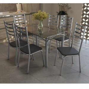 Conjunto Sala de Jantar 6 Cadeiras Preto Tampo De Vidro Kappesberg