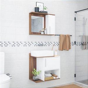 Conjunto Para Banheiro Gabinete  1 Portas e  Espelho Branco com Castanho BRV Móveis