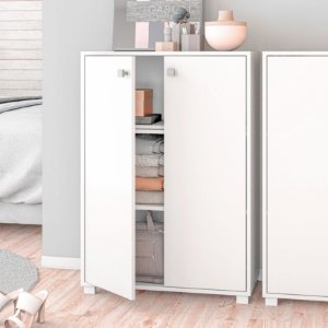 Armário Branco 2 Portas 3 Prateleiras Dormitório - BRV Móveis