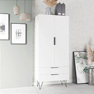 Armário Para Cozinha Branco 2 Portas 2 Gavetas  - BRV Móveis