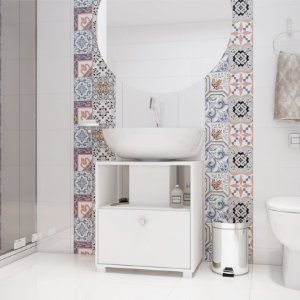 Gabinete Para Banheiro 1 Porta Basculante Branco - BRV Móveis