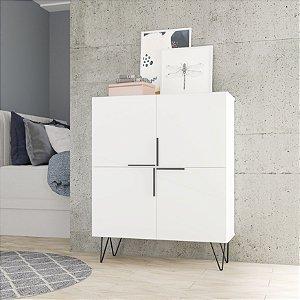 Cômoda 4 Portas Dormitório Branco - BRV Móveis