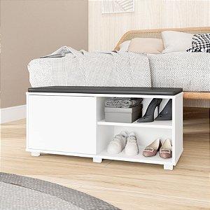 Banco Almofadada Para Dormitório Branco- BRV Móveis