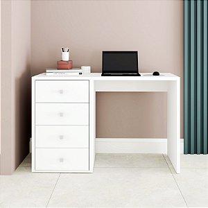 Mesa de Computador 4 Gavetas Office Branco - BRV Móveis