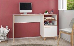 Escrivaninha 1 Porta 2 Nichos Office Branco com Bordas em Pinus - BRV Móveis